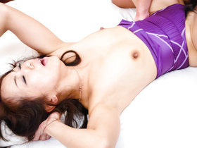 Japanese housewife Hiroko Akaishi spreads her old legs wide open for a throbbing young dick
